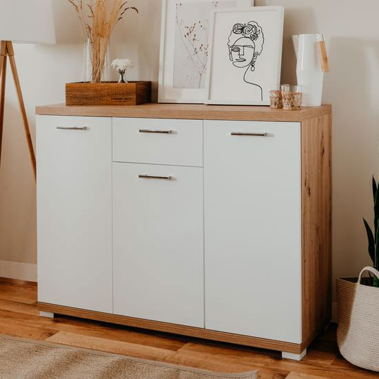 View Milano wooden small sideboard in white glossy and artisan oak