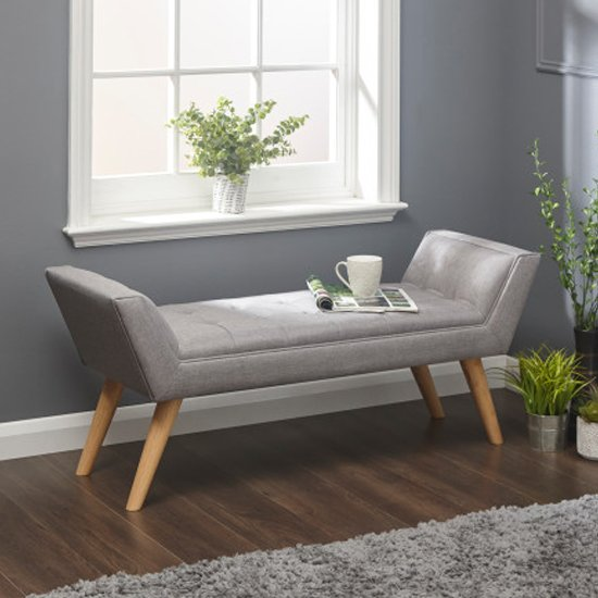 View Milanos fabric upholstered window seat bench in grey