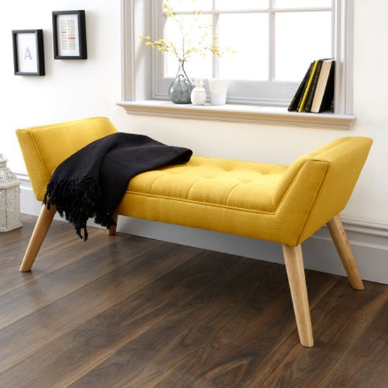 Milanos Fabric Upholstered Window Seat Bench In Yellow