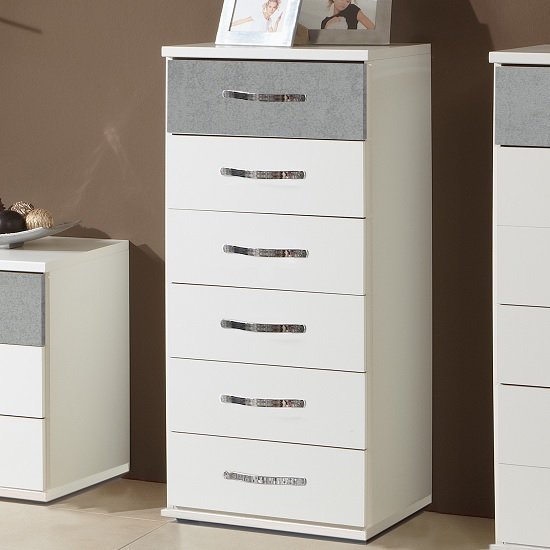 Milden Chest Of Drawers Tall In White And Concrete Grey