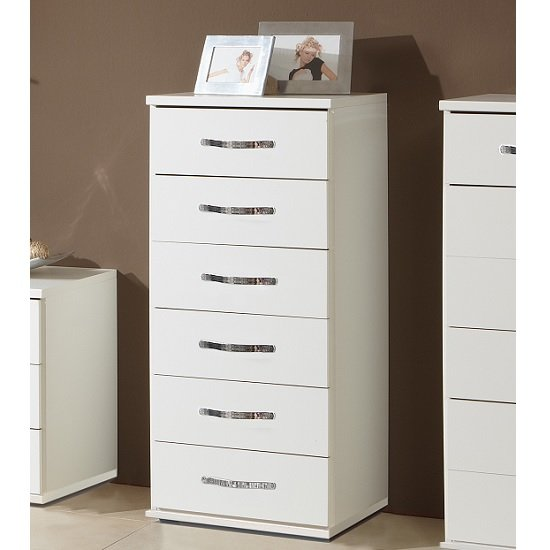 Milden Wooden Chest Of Drawers Tall In White And 6 Drawers
