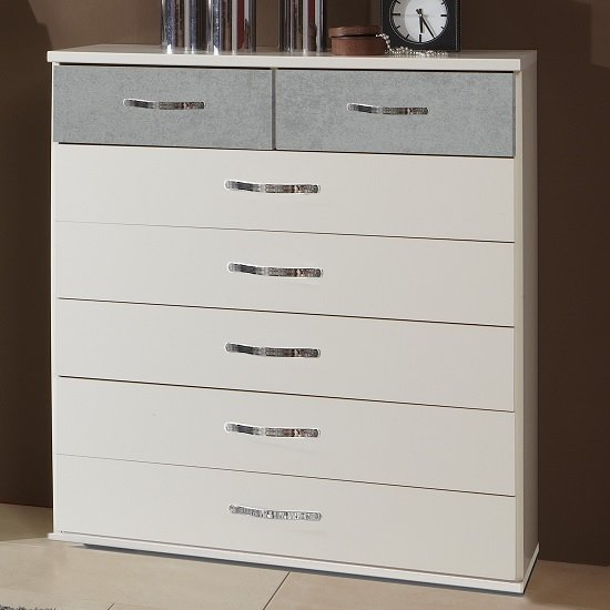Milden Chest Of Drawers Wide In White And Concrete Grey