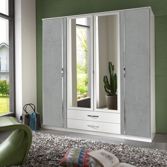 Milden Mirrored Wardrobe Large In White And Concrete Grey