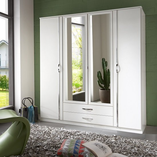 Product photograph showing Milden Mirrored Wardrobe Large In White With 4 Doors