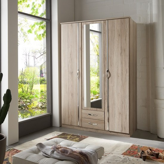 Milden Mirror Wardrobe In Sanremo Oak With 3 Doors And 2 Drawers