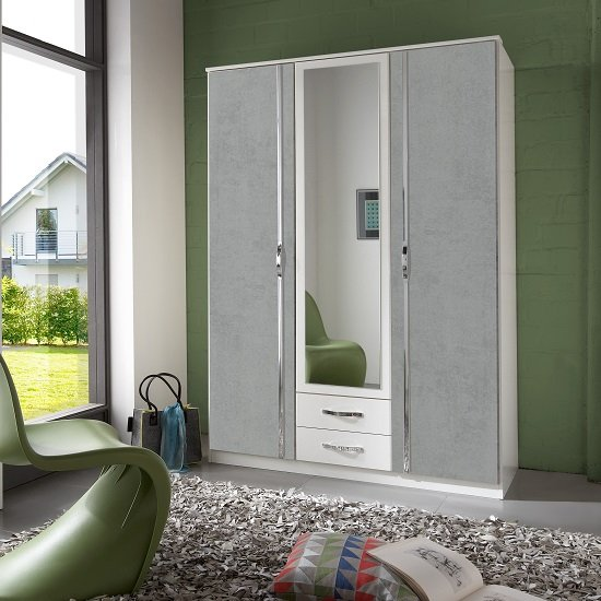 Milden Mirrored Wardrobe In White And Concrete Grey With 3 Doors_1