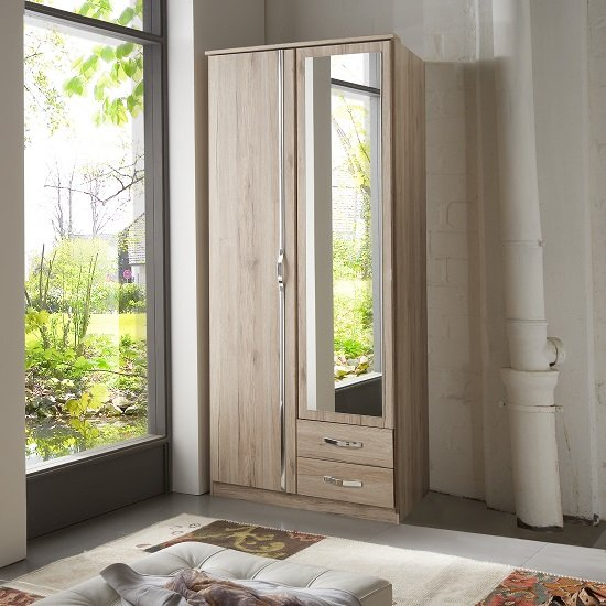 Milden Mirror Wardrobe In Sanremo Oak With 2 Doors