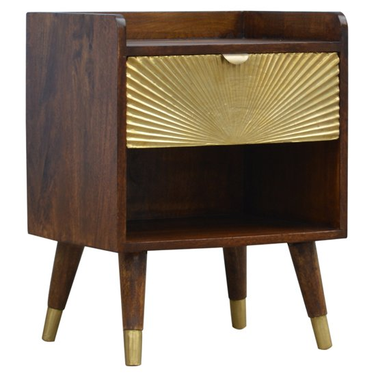 View Milena wooden sunrise gold bedside cabinet in chestnut and brass