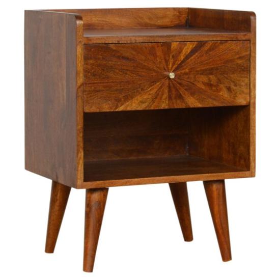 View Milena wooden sunrise pattern bedside cabinet in chestnut