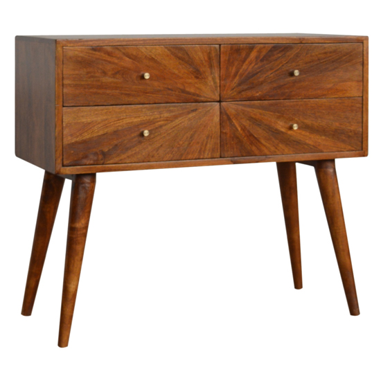 Milena Wooden Sunrise Pattern Console Table In Chestnut
