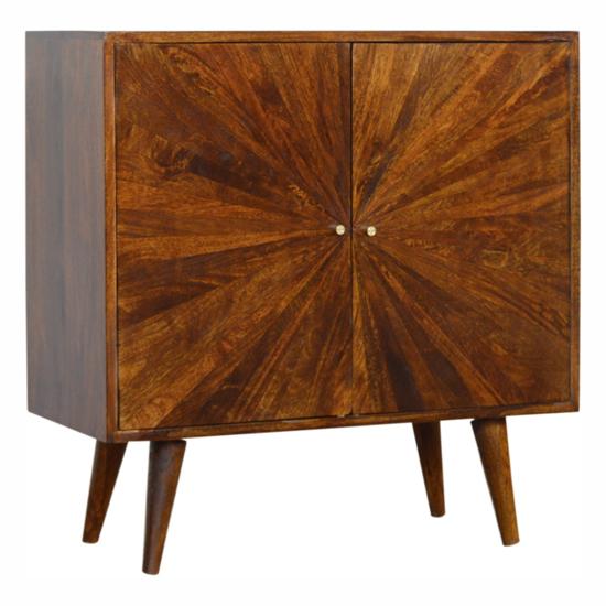 View Milena wooden sunrise pattern storage cabinet in chestnut