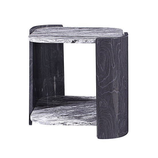 Miley Lamp Table In Slate Grey And Marble Effect High Gloss