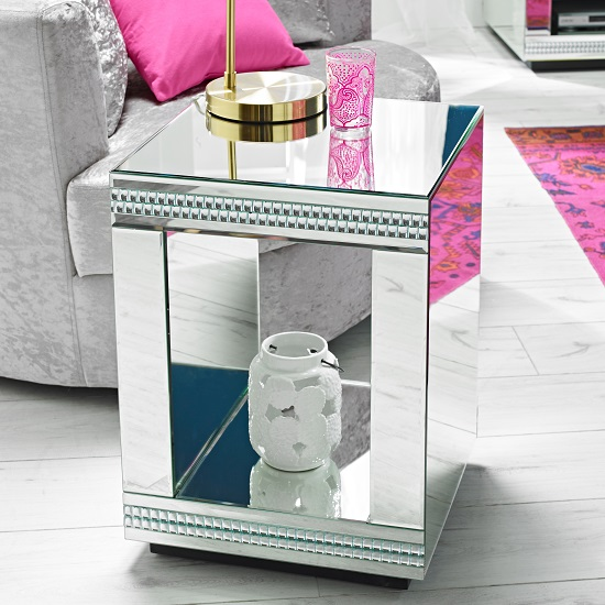 Milford Mirrored Cube Lamp Table