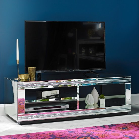 Milford Mirrored Rectangular Tv Stand Furniture In Fashion