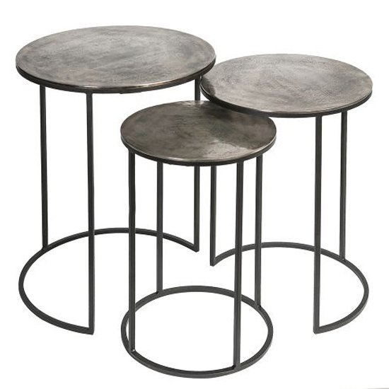 Millenium Aluminium Set Of 3 Side Tables With Metal Frame