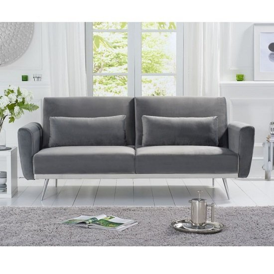 Millom Velvet Sofa Bed In Grey With Angled Metal Legs