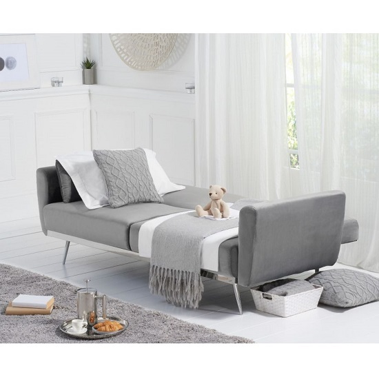 Millom Velvet Sofa Bed In Grey With Angled Metal Legs_2