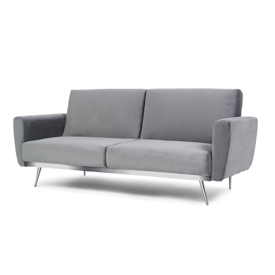 Millom Velvet Sofa Bed In Grey With Angled Metal Legs_3