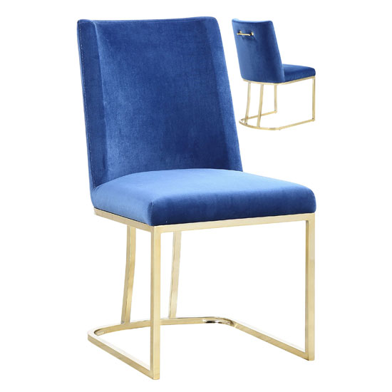 Milo Blue Velvet Dining Chairs In A Pair With Gold Steel Base
