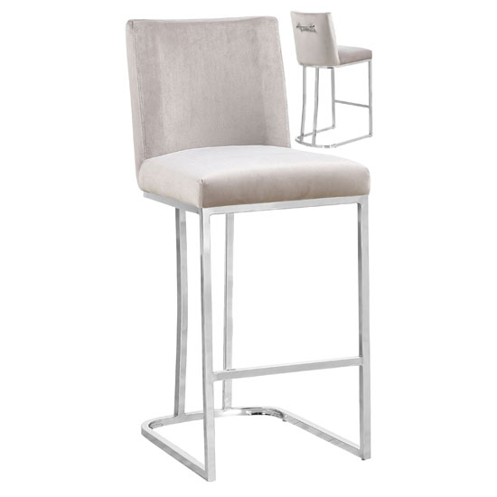 Milo Brown Velvet Bar Stool In Pair With Silver Steel Base