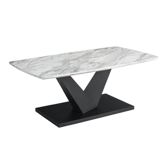 Milo Marble Effect Wooden Coffee Table With Black Metal Base