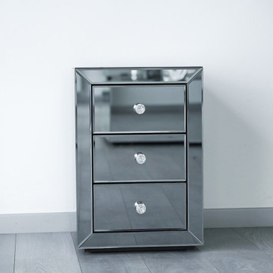 Milo Mirrored Wooden Bedside Cabinet In Grey