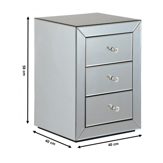 Milo Mirrored Wooden Bedside Cabinet In Silver_3