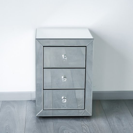Milo Mirrored Wooden Bedside Cabinet In Silver_1