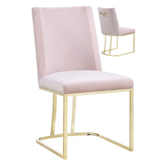 Product photograph showing Milo Rose Velvet Dining Chairs In A Pair With Gold Steel Base