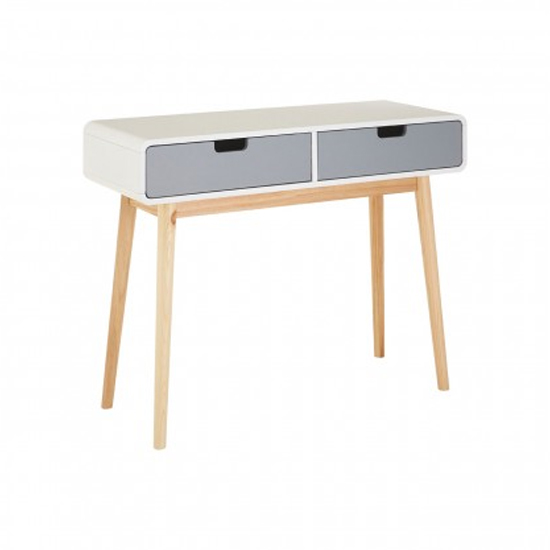 Milova Wooden 2 Drawers Console Table In White And Grey