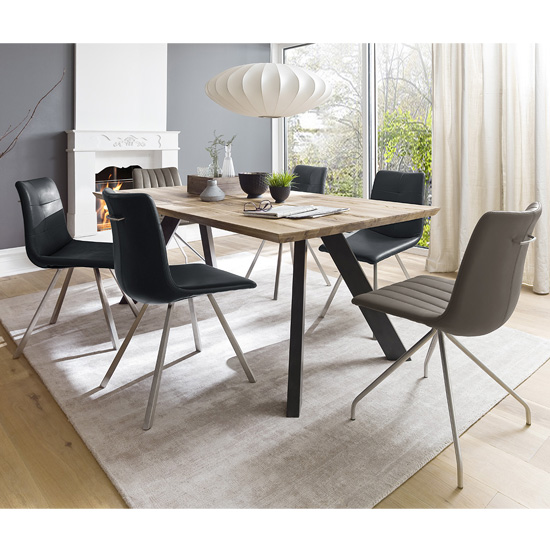 Milton 200cm Dining Table In Wild Oak With Anthracite Legs_2