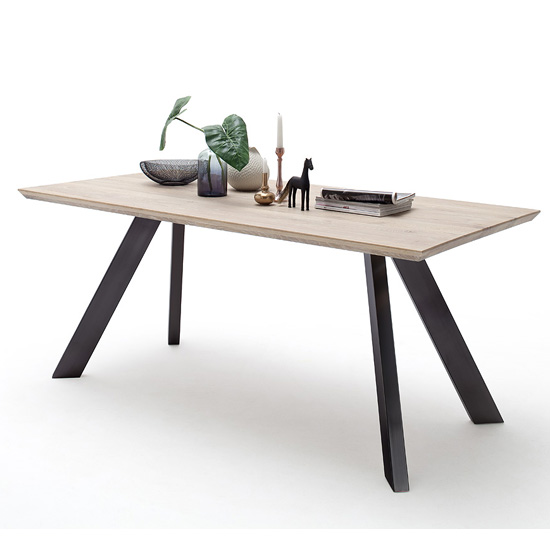 Milton 200cm Dining Table In Wild Oak With Anthracite Legs_1