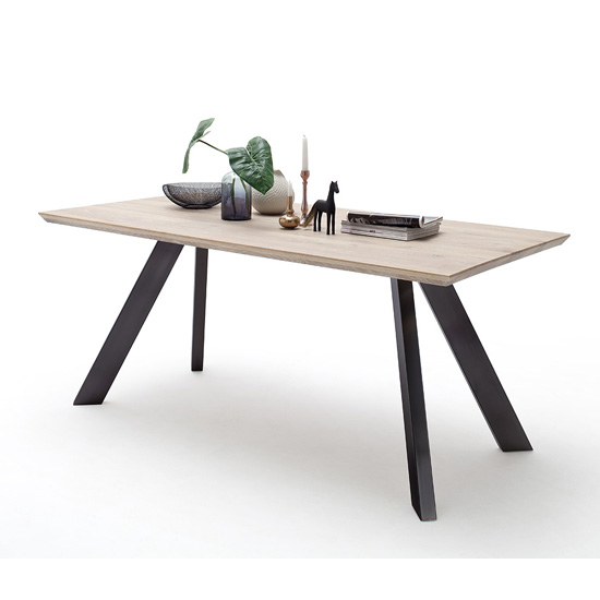 Milton 220cm Dining Table In Limed Oak With Anthracite Legs