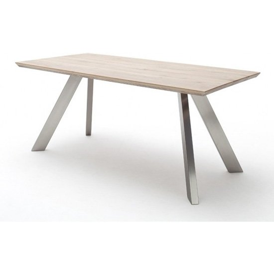Milton 220cm Dining Table In Limed Oak With Stainless Steel Legs