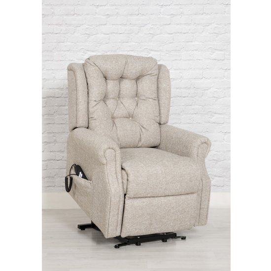 Melsa Fabric Upholstered Twin Motor Lift Recliner Chair In Sand