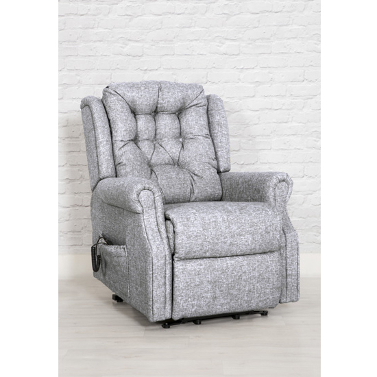 Product photograph showing Melsa Fabric Upholstered Twin Motor Lift Recliner Chair In Zinc