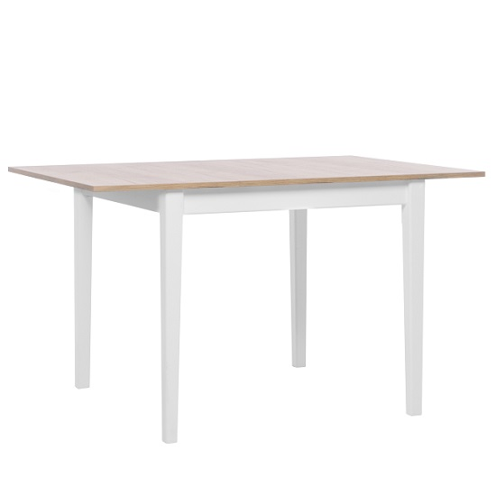 Milton Extendable Wooden Dining Table In Golden Oak And White