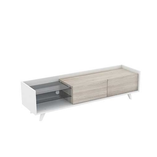 Mimosa Wooden TV Stand In Shannon Oak And Pearl White