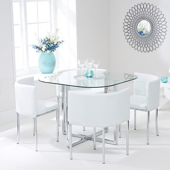 Mingo Glass Stowaway Dining Set In Clear With 4 White Chairs