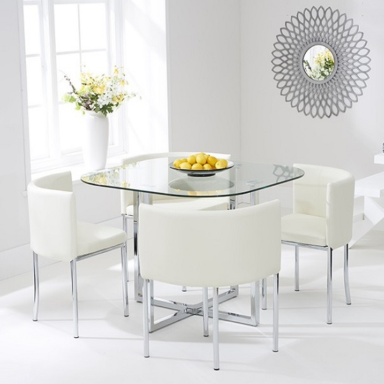 Mingo Glass Stowaway Dining Set In Clear With 4 Cream Chairs