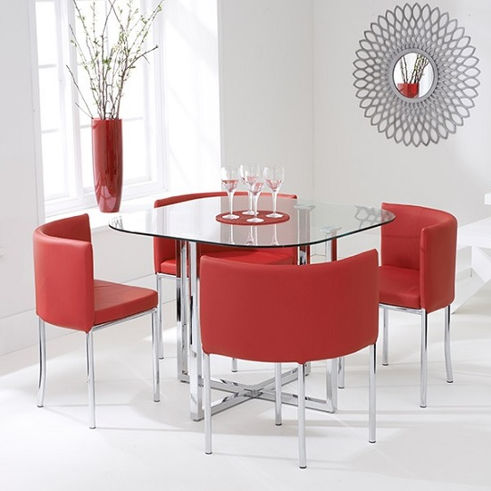 Mingo Glass Stowaway Dining Set In Clear With 4 Red Chairs