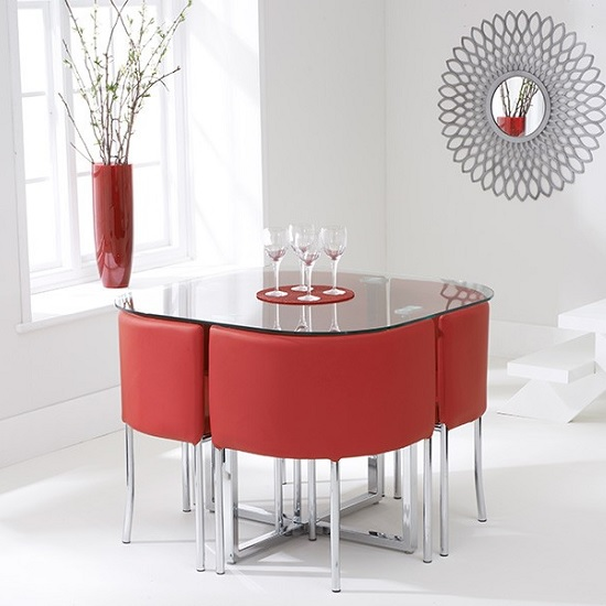 Red Dining Room Table: Mingo Glass Stowaway Dining Set In Clear With 4 Red Chairs