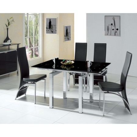 Mini Extendable Black Glass Dining Table With 4 Chairs