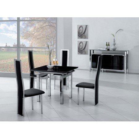 Mini Black Glass Extendable Dining Table With 4 Dining Chairs