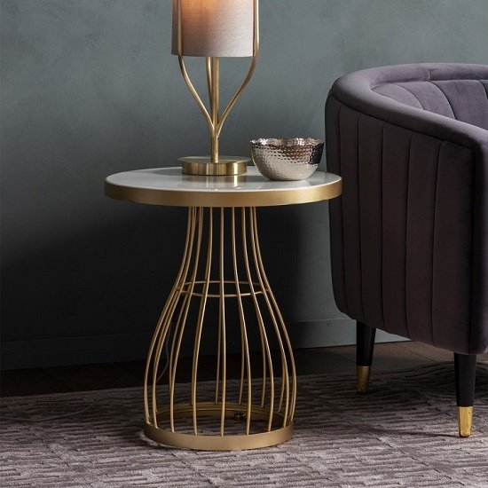 Minnesota Round Glass Side Table With Champagne Frame