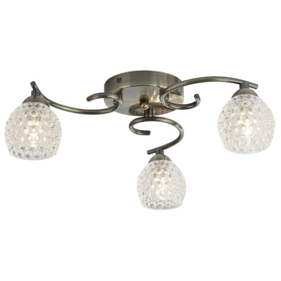 Minnie 3 Light Ceiling Light In Antique Brass