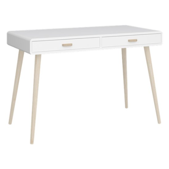 Mino Wooden Laptop Desk In White And Oak With 2 Drawers
