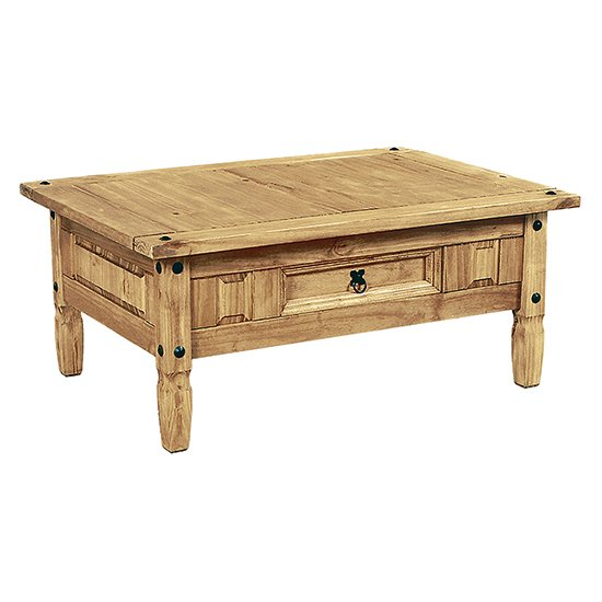 Minoris Coffee Table In Light Pine With 1 Drawer