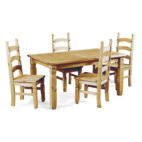 Minoris Wooden Dining Set In Light Pine With 4 Chairs