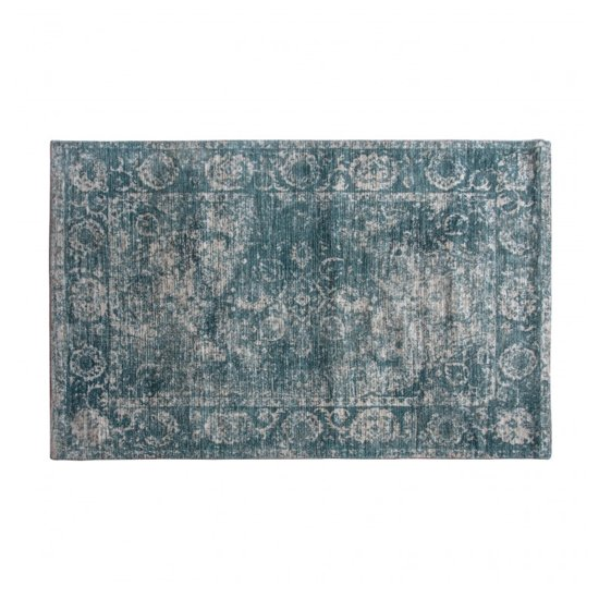 Minott Small Fabric Upholstered Rug In Dark Teal